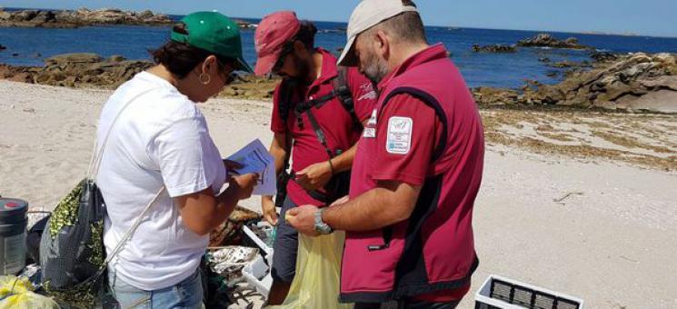 Limpieza de basuras marinas en las playas de Sálvora