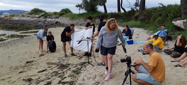 Rodaje del cortometraje sobre basuras marinas en la isla de Cortegada